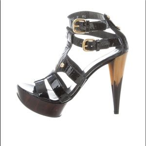 Stuart Weitzman Patten Leather Platform Sandals